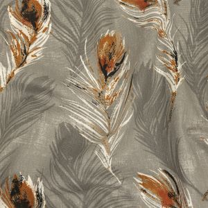 British Imported Rust Feathers Printed Cotton Canvas