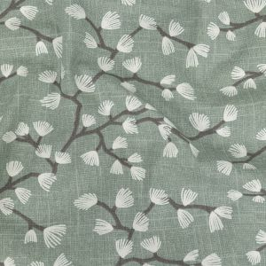 British Imported Seafoam Japanese Blooms Printed Cotton Canvas