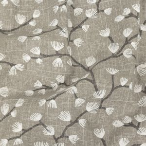 British Imported Silver Japanese Blooms Printed Cotton Canvas