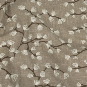 British Imported Taupe Japanese Blooms Printed Cotton Canvas