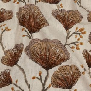 British Imported Terracotta Fanning Florets Printed Cotton Canvas