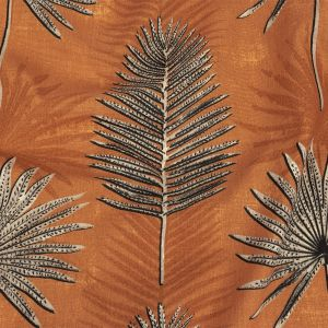 British Imported Terracotta Ferns Printed Cotton Canvas