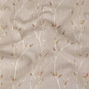 British Imported Dusky Pink Printed and Embroidered Branches Drapery Woven