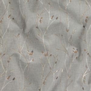 British Imported Pebble Printed and Embroidered Branches Drapery Woven