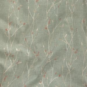 British Imported Sage Printed and Embroidered Branches Drapery Woven