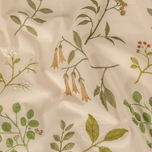 British Imported Kiwi Floral Embroidered Cotton Twill
