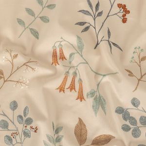 British Imported Sky Floral Embroidered Cotton Twill