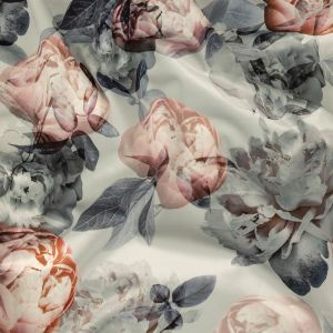 British Imported Peony Printed Polyester Knit Microvelvet
