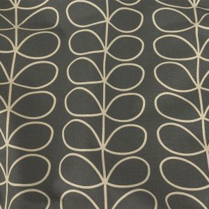 British Imported Cool Gray Scaling Stems Printed Cotton Canvas