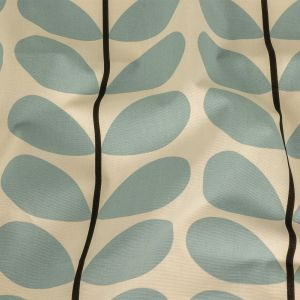 British Imported Powder Blue Two-Toned Stems Printed Cotton Canvas