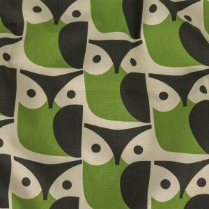 British Imported Chalky Green Geometric Owls Printed Cotton Canvas