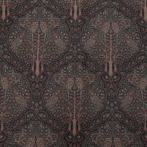 Burnt Russet, Amber Brown and Sea Pine Floral Printed Cotton Canvas