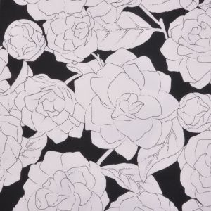 Italian Black and White Floral Cotton Canvas