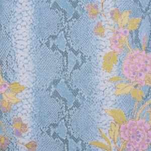 Soft Blue/Orchid/Kiwi/Gold/Whi Reptile-Floral Cotton-Lycra Twill