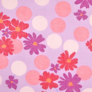 Lilac and Red Floral Cotton Batiste