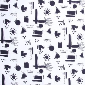 Black and White Printed Cotton Twill