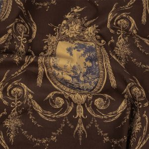 Brown and Blue Toile Cotton-Lycra Twill