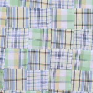 Yellow & Green Multi-Colored Patchwork Cotton Madras
