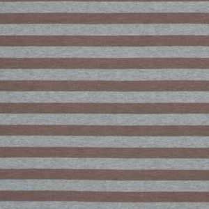 Heathered Gray and Brown Awning Striped Cotton Jersey
