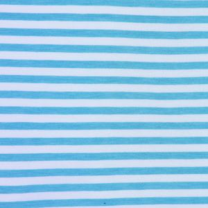 Cyan Blue and White Bengal Striped Cotton and Polyester Jersey