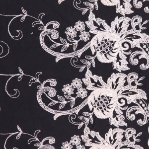 Black/Marshmellow Floral Cotton Embroidered Twill