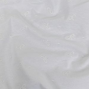 White Bows Embroidered Stretch Cotton Canvas