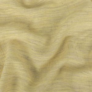 Pale Lemon, Ivory and Beige Striated Crinkled Linen and Polyester Double Cloth