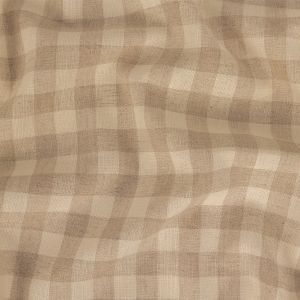 Oyster Gray and Birch Checked Lightweight Linen Woven