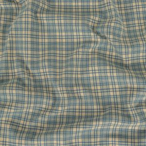Blue and Creme Brulee Plaid Cotton Woven