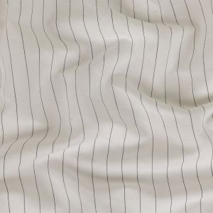 Black and White Pinstriped Cotton and Linen Herringbone Twill Suiting