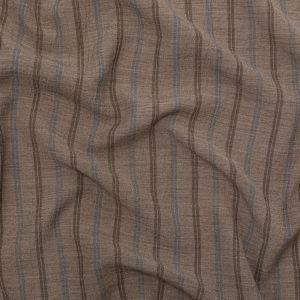Taupe Gray, Bison and Infinity Striped Linen Crepe