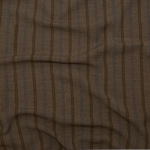 Desert Palm, Shaved Chocolate and Lichen Blue Striped Linen Crepe
