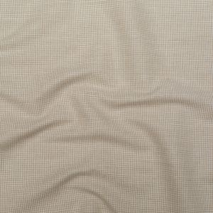 Beige and White Checkered Linen and Cotton Woven
