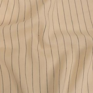 Seedpearl and Black Broken Pinstripes Linen and Silk Twill