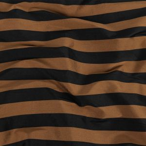 Black and Brown Awning Striped Polyester Taffeta