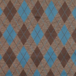 Brown/Taupe/Turquoise Argyle Cotton-Blend Knit