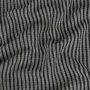 Navy, Blackbird Feather and White Polyester and Cotton Striped Novelty Woven