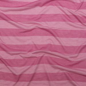 Cashmere Rose and Ibis Rose Awning Striped Tissue-Weight Rayon Jersey