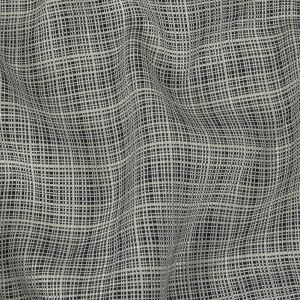 Cloud Dancer and Navy Gridded Rayon and Linen Woven