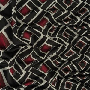 Black, Gray and Maroon Gradient Off Kilter Squares Stretch Rayon Jersey