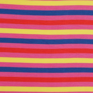 Pink Multicolored Striped Rayon Jersey