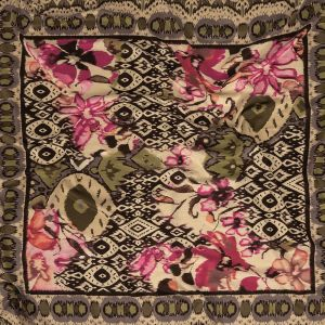 Rose, Olive and Brown Ikat Floral Stretch Rayon Jersey Panel
