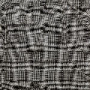 Black and Cannoli Cream Glen Plaid Rayon Suiting