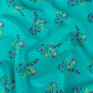 Turquoise, Purple Orchid and Yellow Beaded Bouquets Silk Crepe de Chine
