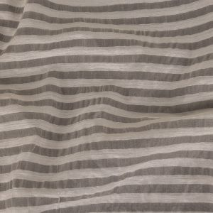 Off White Striped Sheer Silk Woven