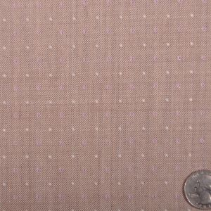 Famous Designer Italian Beige and Lavender Dotted Wool Suiting