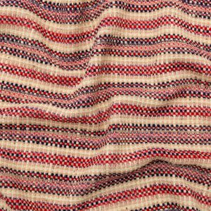 Famous NYC Designer Red, Navy and Beige Striped Tweed Wool Coating
