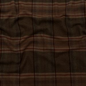Lead Gray, Dark Olive, and Syrah Plaid Brushed Cashmere Twill