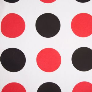Off-White/Black/Primary Red Polka Dots Canvas