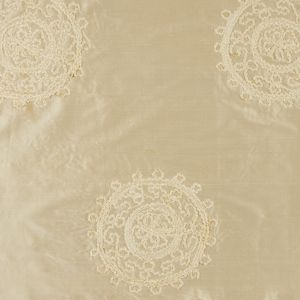 Light Canary Chenille Medallion Embroidered Silk Shantung